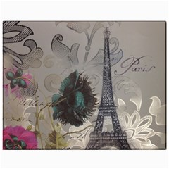 Floral Vintage Paris Eiffel Tower Art Canvas 11  X 14  (unframed) by chicelegantboutique