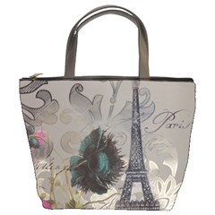 Floral Vintage Paris Eiffel Tower Art Bucket Bag by chicelegantboutique