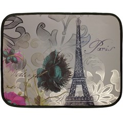 Floral Vintage Paris Eiffel Tower Art Mini Fleece Blanket (two Sided) by chicelegantboutique