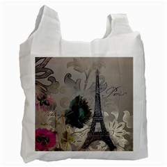 Floral Vintage Paris Eiffel Tower Art Recycle Bag (two Sides) by chicelegantboutique