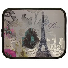Floral Vintage Paris Eiffel Tower Art Netbook Case (xxl) by chicelegantboutique