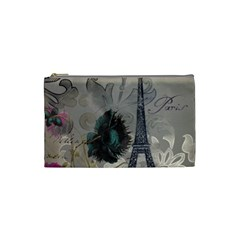 Floral Vintage Paris Eiffel Tower Art Cosmetic Bag (small) by chicelegantboutique