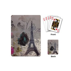 Floral Vintage Paris Eiffel Tower Art Playing Cards (mini) by chicelegantboutique