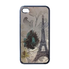 Floral Vintage Paris Eiffel Tower Art Apple Iphone 4 Case (black) by chicelegantboutique