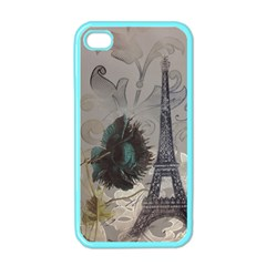 Floral Vintage Paris Eiffel Tower Art Apple Iphone 4 Case (color) by chicelegantboutique