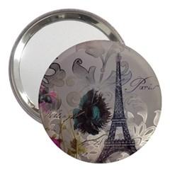 Floral Vintage Paris Eiffel Tower Art 3  Handbag Mirror