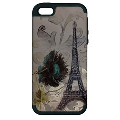 Floral Vintage Paris Eiffel Tower Art Apple Iphone 5 Hardshell Case (pc+silicone) by chicelegantboutique