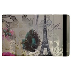 Floral Vintage Paris Eiffel Tower Art Apple Ipad 2 Flip Case by chicelegantboutique