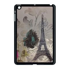 Floral Vintage Paris Eiffel Tower Art Apple Ipad Mini Case (black) by chicelegantboutique
