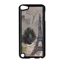 Floral Vintage Paris Eiffel Tower Art Apple Ipod Touch 5 Case (black) by chicelegantboutique