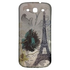 Floral Vintage Paris Eiffel Tower Art Samsung Galaxy S3 S Iii Classic Hardshell Back Case by chicelegantboutique