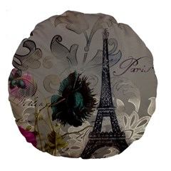 Floral Vintage Paris Eiffel Tower Art 18  Premium Round Cushion  by chicelegantboutique