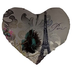 Floral Vintage Paris Eiffel Tower Art 19  Premium Heart Shape Cushion by chicelegantboutique