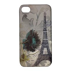 Floral Vintage Paris Eiffel Tower Art Apple Iphone 4/4s Hardshell Case With Stand by chicelegantboutique