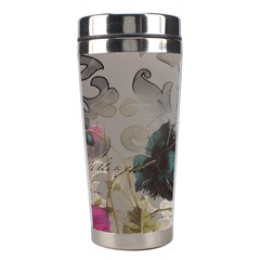 Floral Vintage Paris Eiffel Tower Art Stainless Steel Travel Tumbler by chicelegantboutique