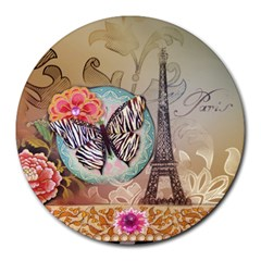 Fuschia Flowers Butterfly Eiffel Tower Vintage Paris Fashion 8  Mouse Pad (round) by chicelegantboutique