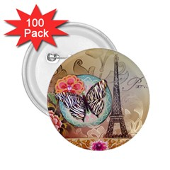 Fuschia Flowers Butterfly Eiffel Tower Vintage Paris Fashion 2 25  Button (100 Pack) by chicelegantboutique