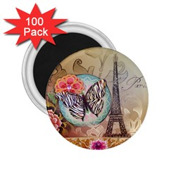 Fuschia Flowers Butterfly Eiffel Tower Vintage Paris Fashion 2 25  Button Magnet (100 Pack)