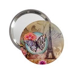 Fuschia Flowers Butterfly Eiffel Tower Vintage Paris Fashion Handbag Mirror (2 25 ) by chicelegantboutique