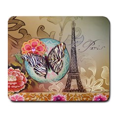Fuschia Flowers Butterfly Eiffel Tower Vintage Paris Fashion Large Mouse Pad (rectangle) by chicelegantboutique