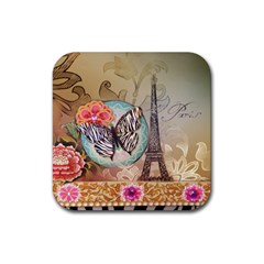 Fuschia Flowers Butterfly Eiffel Tower Vintage Paris Fashion Drink Coaster (Square) by chicelegantboutique