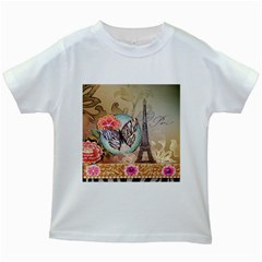 Fuschia Flowers Butterfly Eiffel Tower Vintage Paris Fashion Kids' T Shirt (white)