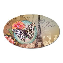 Fuschia Flowers Butterfly Eiffel Tower Vintage Paris Fashion Magnet (oval) by chicelegantboutique