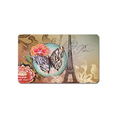 Fuschia Flowers Butterfly Eiffel Tower Vintage Paris Fashion Magnet (name Card) by chicelegantboutique