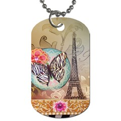 Fuschia Flowers Butterfly Eiffel Tower Vintage Paris Fashion Dog Tag (one Sided) by chicelegantboutique