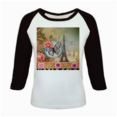 Fuschia Flowers Butterfly Eiffel Tower Vintage Paris Fashion Women s Long Cap Sleeve T Shirt