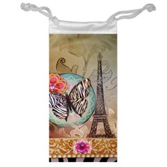 Fuschia Flowers Butterfly Eiffel Tower Vintage Paris Fashion Jewelry Bag by chicelegantboutique