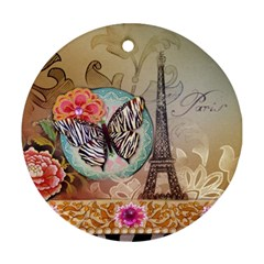 Fuschia Flowers Butterfly Eiffel Tower Vintage Paris Fashion Round Ornament (two Sides) by chicelegantboutique