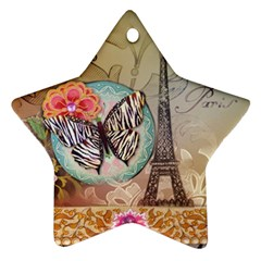 Fuschia Flowers Butterfly Eiffel Tower Vintage Paris Fashion Star Ornament (two Sides) by chicelegantboutique