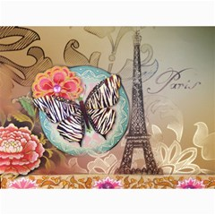 Fuschia Flowers Butterfly Eiffel Tower Vintage Paris Fashion Canvas 12  X 16  (unframed) by chicelegantboutique