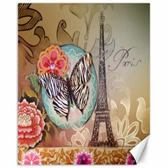 Fuschia Flowers Butterfly Eiffel Tower Vintage Paris Fashion Canvas 16  X 20  (unframed) by chicelegantboutique