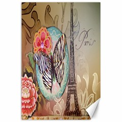Fuschia Flowers Butterfly Eiffel Tower Vintage Paris Fashion Canvas 24  X 36  (unframed) by chicelegantboutique