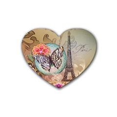 Fuschia Flowers Butterfly Eiffel Tower Vintage Paris Fashion Drink Coasters (heart) by chicelegantboutique