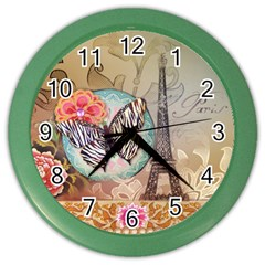 Fuschia Flowers Butterfly Eiffel Tower Vintage Paris Fashion Wall Clock (color) by chicelegantboutique