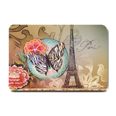 Fuschia Flowers Butterfly Eiffel Tower Vintage Paris Fashion Small Door Mat by chicelegantboutique