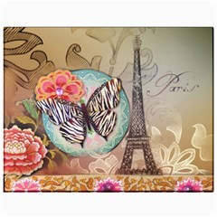 Fuschia Flowers Butterfly Eiffel Tower Vintage Paris Fashion Canvas 11  x 14  (Unframed) by chicelegantboutique