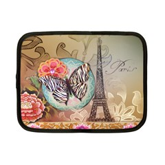 Fuschia Flowers Butterfly Eiffel Tower Vintage Paris Fashion Netbook Case (Small) by chicelegantboutique