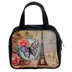 Fuschia Flowers Butterfly Eiffel Tower Vintage Paris Fashion Classic Handbag (two Sides) by chicelegantboutique