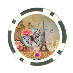 Fuschia Flowers Butterfly Eiffel Tower Vintage Paris Fashion Poker Chip 10 Pack by chicelegantboutique