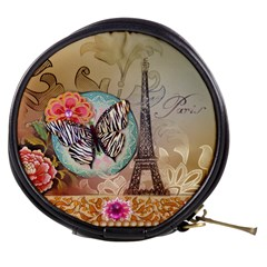 Fuschia Flowers Butterfly Eiffel Tower Vintage Paris Fashion Mini Makeup Case by chicelegantboutique