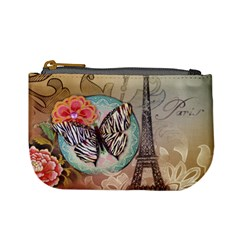 Fuschia Flowers Butterfly Eiffel Tower Vintage Paris Fashion Coin Change Purse by chicelegantboutique
