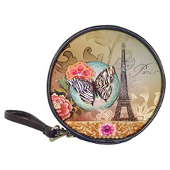 Fuschia Flowers Butterfly Eiffel Tower Vintage Paris Fashion CD Wallet by chicelegantboutique