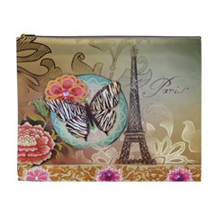 Fuschia Flowers Butterfly Eiffel Tower Vintage Paris Fashion Cosmetic Bag (XL)