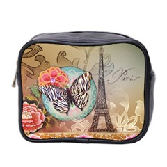 Fuschia Flowers Butterfly Eiffel Tower Vintage Paris Fashion Mini Travel Toiletry Bag (two Sides) by chicelegantboutique