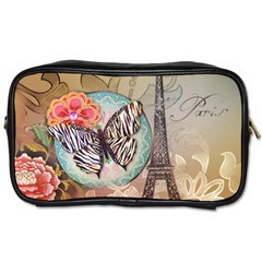 Fuschia Flowers Butterfly Eiffel Tower Vintage Paris Fashion Travel Toiletry Bag (one Side) by chicelegantboutique