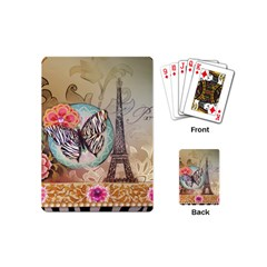 Fuschia Flowers Butterfly Eiffel Tower Vintage Paris Fashion Playing Cards (mini) by chicelegantboutique